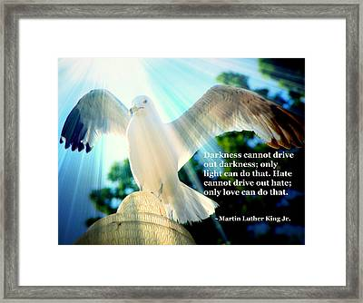 Wings Of Freedom Illuminated With Martin Luther King Jr. Quote II Framed Print