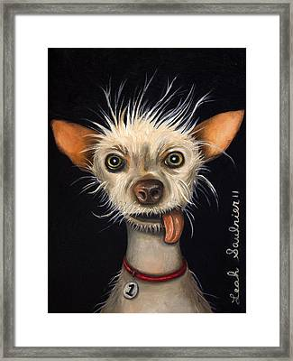Winner Of The Ugly Dog Contest 2011 Framed Print by Leah Saulnier The Painting Maniac