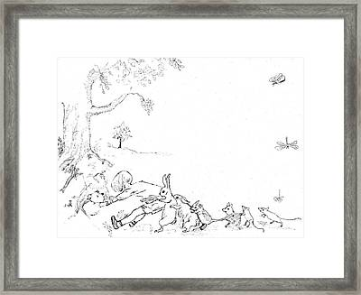 Winnie The Pooh And Crew In Pen  And Ink After E H Shepard Framed Print by Maria Hunt