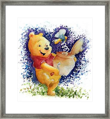 Winnie The Pooh And Honey Pot Framed Print by Andrew Fling