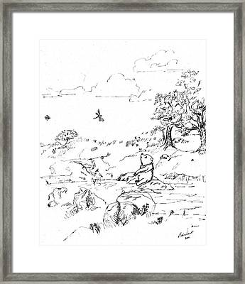 Winnie The Pooh By The Creek   After E H Shepard Framed Print