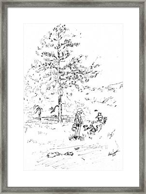 Winnie The Pooh Goes On A Picnic   After E H Shepard Framed Print by Maria Hunt