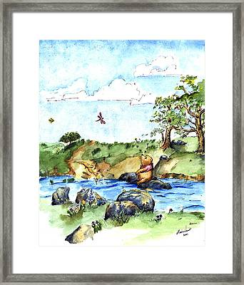 Imagining The Hunny  After E  H Shepard Framed Print by Maria Hunt