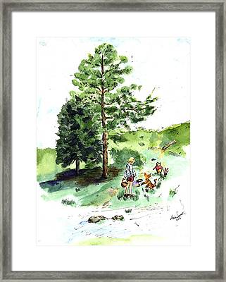 Winnie The Pooh With Christopher Robin After E H Shepard Framed Print