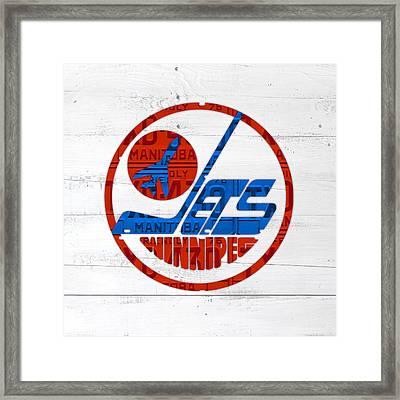 Winnipeg Jets Retro Hockey Team Logo Recycled Manitoba Canada License Plate Art Framed Print by Design Turnpike