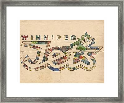 Winnipeg Jets Retro Poster Framed Print by Florian Rodarte