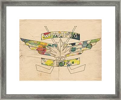 Winnipeg Jets Vintage Logo Framed Print by Florian Rodarte