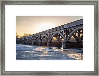 Winona Wagon Bridge At Sunset Framed Print