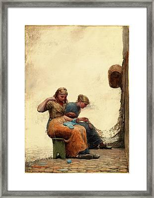 Winslow Homer, American 1836-1910, Mending The Nets Framed Print