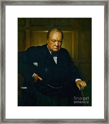 Winston Churchill Framed Print by Adam Asar