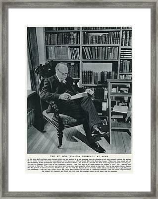 Winston Churchill  At Home, Reading Framed Print by  Illustrated London News Ltd/Mar
