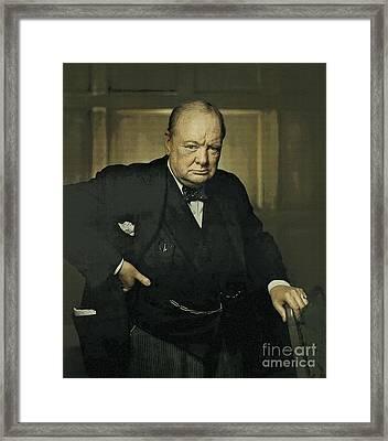 Winston Churchill Prime Minister Of Uk Framed Print by Celestial Images