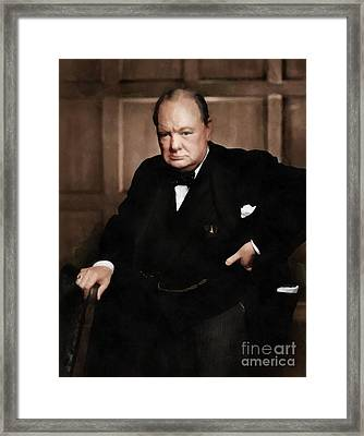 Winston Churchill Framed Print by Vincent Monozlay