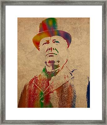 Winston Churchill Watercolor Portrait On Worn Parchment Framed Print