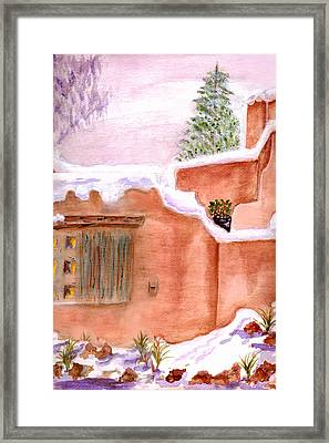 Framed Print featuring the painting Winter Adobe by Paula Ayers