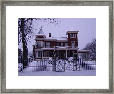 Winter Afternoon At Stephen King Victorian Mansion In Bangor Maine Framed Print