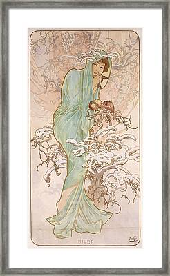 Winter Framed Print by Alphonse Marie Mucha