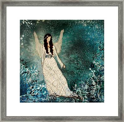 Winter Angel Inspirational Christian Mixed Media Painting  Framed Print by Janelle Nichol