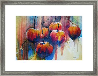Framed Print featuring the painting Winter Apples by Jani Freimann