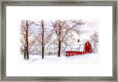 Winter Arrives Watercolor Framed Print by Edward Fielding