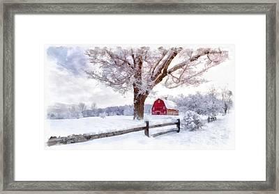 Winter Arrives Watercolor II Framed Print