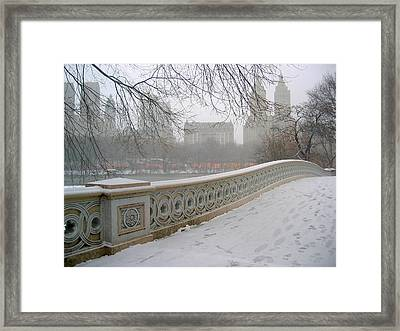 Winter At Bow Bridge Framed Print