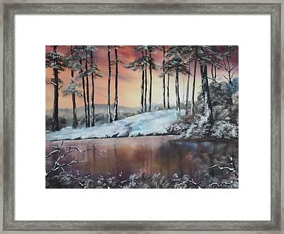 Winter At Fairoak Pool Cannock Chase Framed Print