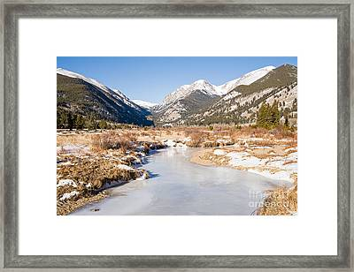 Winter At Horseshoe Park In Rocky Mountain National Park Framed Print