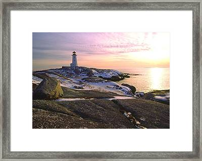 Winter At Peggy's Cove Framed Print