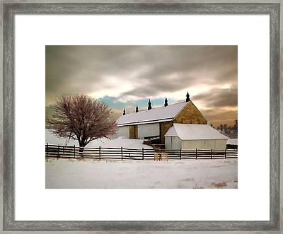 Winter At Piper Barn Anteitam National Battleground Framed Print by Elaine Plesser