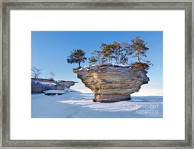 Winter At Port Austin's Turnip Rock Framed Print by Craig Sterken