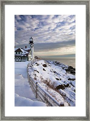 Winter At Portland Head Framed Print by Eric Gendron