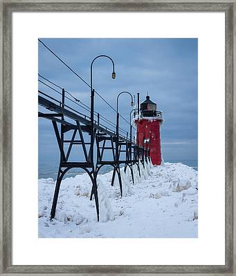 Winter At South Haven Lighthouse Framed Print