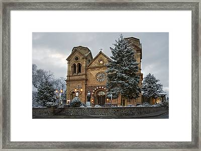 Winter At St Francis Cathedral In Santa Fe New Mexico Framed Print by Dave Dilli