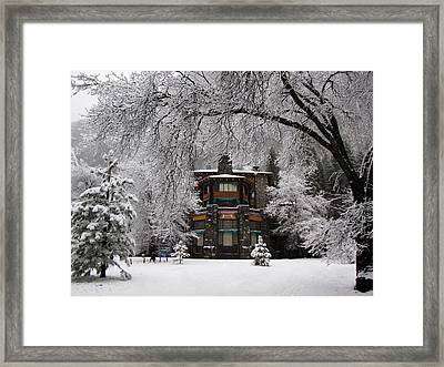 Winter At The Ahwahnee In Yosemite Framed Print by Carla Parris