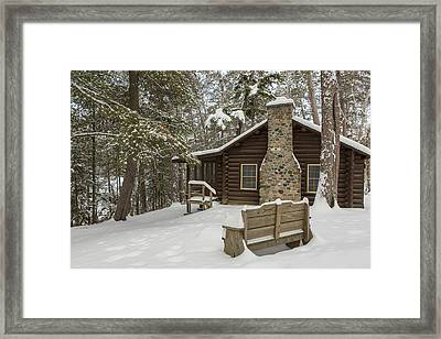 Winter At The Cabin Framed Print by Tim Grams
