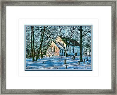 Winter At The Church Framed Print by Barry Monaco