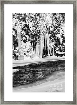 Winter At The Creek Monochrome Framed Print by Darleen Stry