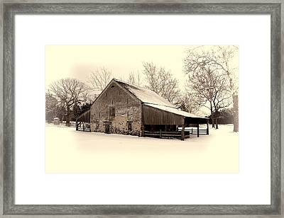 Winter At The Horse Barn Framed Print