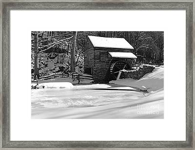 Winter At The Mill In Black And White Framed Print by Paul Ward