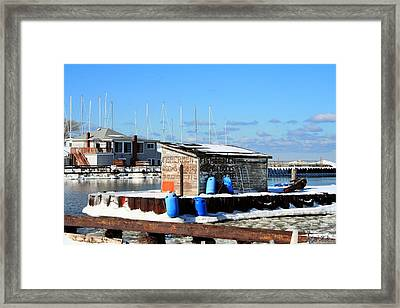 Winter At The Olcott Beach Fishing Shack Framed Print by Michael Allen