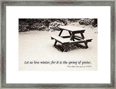 Winter At The Park With A Snow-covered Table Framed Print by Beverly Claire Kaiya