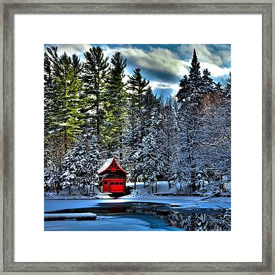 Winter At The Red Boathouse Framed Print by David Patterson