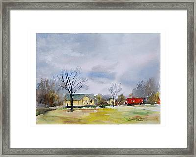 Origional  Sold - Winter At The Train Museum Tomball Tx Framed Print