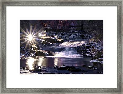 Winter At The Woodlands Waterfall In Wilkes Barre Framed Print