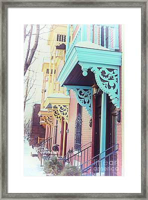Winter Balconies In Montreal Framed Print by Jane Rix