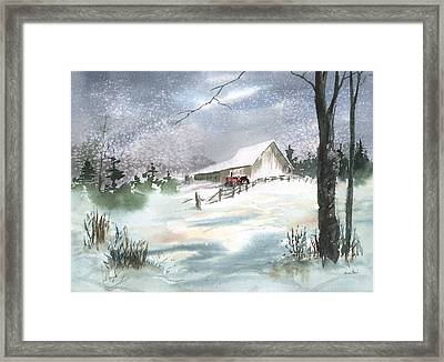 Winter Barn And Tractor Framed Print by Sean Seal