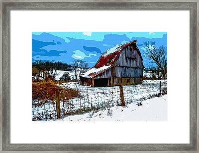 Winter Barn Framed Print by Brian Stevens