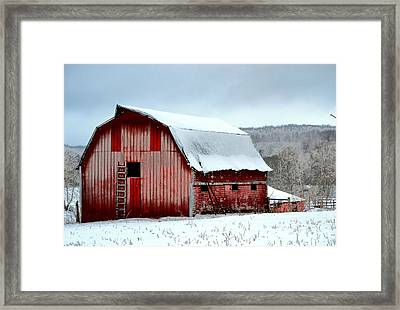 Winter Barn Framed Print by Deena Stoddard