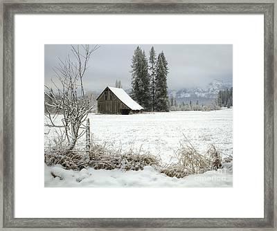 Winter Barn Framed Print by Idaho Scenic Images Linda Lantzy